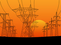 Illustration of electric transmission line t Royalty Free Stock Image