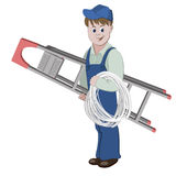 Illustration of electrician or cable guy standing with a ladder and a cable Royalty Free Stock Photo
