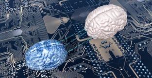 Illustration of electronic brain Stock Photography