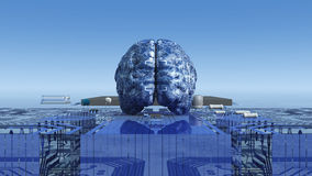 Illustration of electronic brain Stock Images