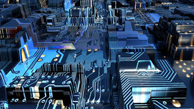 Illustration of an electronic city Stock Photography