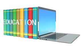Illustration of electronic library concept. Education Stock Photos