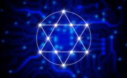 illustration of a electronic pentagram symbol Royalty Free Stock Photo