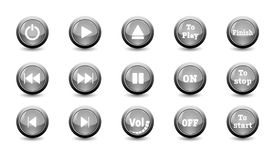 Illustration electronic and technology concept,simple black icon button set. For control panel isolated on white background for finger push to start and other Stock Photos