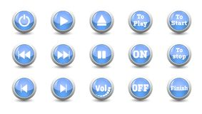 Illustration electronic and technology concept,simple icon blue button set. For control panel isolated on white background for finger push to start,other Royalty Free Stock Photos