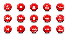 Illustration electronic and technology concept,simple red icon button set. For control panel isolated on white background for finger push to start and other Royalty Free Stock Images