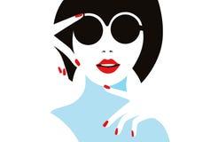 Illustration elegant girl in glasses. Royalty Free Stock Photography