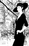 Illustration of an elegant lady in Paris Stock Images