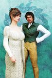 Illustration of an elegant Regency couple in period costume. Romantic young Georgian man and woman in period costume. Particularly suited to Regency Romance vector illustration