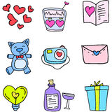 Illustration of element love doodles. Vector art stock illustration