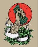 Strong Hand Holding Money Illustration royalty free illustration