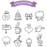 Illustration of element valentine day icons. Vector art Stock Images