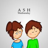 Illustration of elements of Ash Wednesday background. Illustration of Ashes Cross on boy and girl forehead with Ash Wednesday text on the occasion of Ash vector illustration