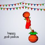 Illustration of elements of hindu festival Gudi Padwa background. Illustration of bamboo, cloth, pots and decoration with happy gudi padwa text on the occasion Royalty Free Stock Photos