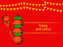 Illustration of elements of hindu festival Gudi Padwa background. Illustration of bamboo, cloth, pots and decoration with happy gudi padwa text on the occasion Stock Photos