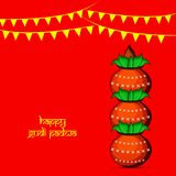 Illustration of elements of hindu festival Gudi Padwa background. Illustration of bamboo, cloth, pots and decoration with happy gudi padwa text on the occasion Royalty Free Stock Photo