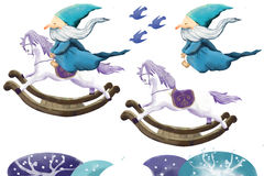 Illustration Elements Set: Magician and Wooden Horse. Royalty Free Stock Photos