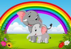 Elephant and baby elephant at jungle with rainbow scene. Illustration of elephant and baby elephant at jungle with rainbow scene Royalty Free Stock Image