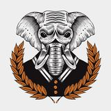 Illustration of elephant, framed by laurel Royalty Free Stock Photo
