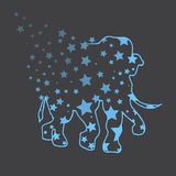 Illustration. Elephant with stars. Sketch. Royalty Free Stock Images