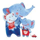 Illustration of elephants family Stock Image