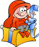 Illustration of elf elf sitting on a gift Stock Image