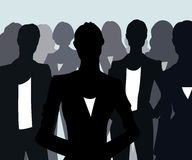 Illustration of emancipation. Group of black silhouettes of businesswomen Stock Photography