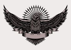 Illustration of emblem with eagle. And arrows. Black and white style Royalty Free Stock Images