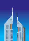 Illustration of Emirates tower. S on sheikh zayed road Royalty Free Stock Images
