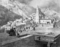The Dagestan town. Illustration for the Emperor Nicholas 1. Paris 1841 Stock Photography