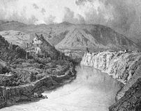Historical Caucasian city. Illustration for the Emperor Nicholas 1. Paris 1841 Royalty Free Stock Image