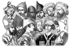 Peoples of the Caucasus. Illustration for the Emperor Nicholas 1. Paris 1841 Stock Photos