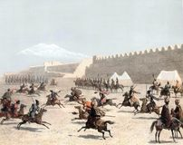 The siege of the fortress. Illustration for the Emperor Nicholas 1. Paris 1841 Royalty Free Stock Photos