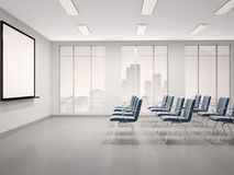 Illustration of empty conference room. 3d illustration of empty conference room with a whiteboard for seminar Royalty Free Stock Images