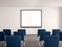 Illustration of empty conference room with a whiteboard for s. 3d illustration of empty conference room with a whiteboard for seminar Royalty Free Stock Image