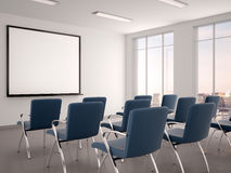 Illustration of empty conference room with a whiteboard for s. 3d illustration of empty conference room with a whiteboard for seminar Stock Images