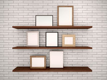 Illustration of empty frames on the shelves against a brick w Royalty Free Stock Photo