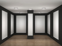 Illustration of a empty gallery room with frames Royalty Free Stock Photography