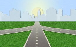 Road leading to city standing at horizon. Illustration of empty highway with road junction. Road leading to city standing at horizon. Shading, layered paper royalty free illustration