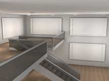 Illustration of a empty museum with 4 frames Stock Image