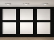 Illustration of a empty museum with 6 empty frames Stock Photos