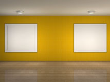Illustration of a empty museum with frames Stock Photos