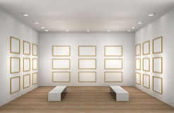 A illustration of a empty museum room with frames. A 3d illustration of a museum room with frames royalty free illustration