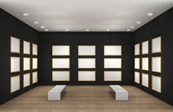 A illustration of a empty museum room with frames. A 3d illustration of a museum room with frames vector illustration