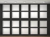 Illustration of a empty museum wall with frames Royalty Free Stock Photography