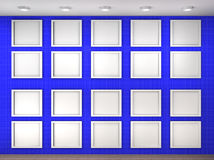 Illustration of a empty museum wall with frames Stock Photo