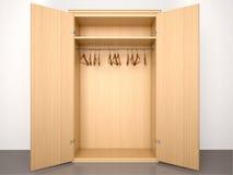 Illustration of Empty open wooden wardrobe Stock Photos