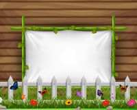 Empty paper blank on wooden signboard in the garden. Illustration of Empty paper blank on wooden signboard in the garden Royalty Free Stock Photography