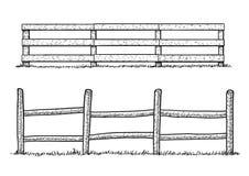 Illustration en bois de barrière, dessin, gravure, encre, schéma, vecteur illustration de vecteur
