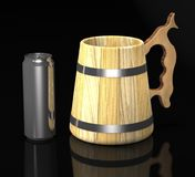 Illustration en bois de tasse et de canette de bière 3d de bière de vintage illustration libre de droits